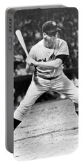 Mickey Mantle At Bat Portable Battery Charger by Underwood Archives