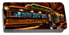 Mickey's Diner St Paul Portable Battery Charger by Amanda Stadther