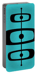 Mid Century Shapes 2 On Turquoise Portable Battery Charger