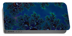 Midnight Blue Frost Crystals Fractal Portable Battery Charger