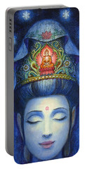 Midnight Meditation Kuan Yin Portable Battery Charger by Sue Halstenberg