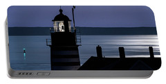 Portable Battery Charger featuring the photograph Midnight Moonlight On West Quoddy Head Lighthouse by Marty Saccone