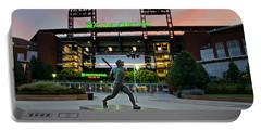 Mike Schmidt Statue At Dawn Portable Battery Charger
