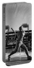 Mike Schmidt Statue In Black And White Portable Battery Charger