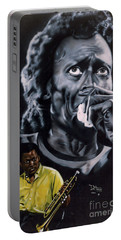Portable Battery Charger featuring the painting More Miles Of Davis by Thomas J Herring