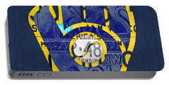 Milwaukee Brewers Vintage Baseball Team Logo Recycled Wisconsin License Plate Art Portable Battery Charger by Design Turnpike