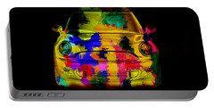 Mini Cooper Colorful Abstract On Black Portable Battery Charger by Eti Reid