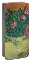 Portable Battery Charger featuring the painting Mini Roses by Teresa White