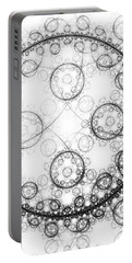 Minimalist Fractal Art Black And White Circles Portable Battery Charger