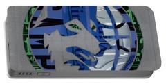 Minnesota Timberwolves Basketball Team Retro Logo Vintage Recycled Minnesota License Plate Art Portable Battery Charger