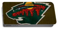 Minnesota Wild Retro Hockey Team Logo Recycled Land Of 10000 Lakes License Plate Art Portable Battery Charger by Design Turnpike