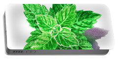 Portable Battery Charger featuring the painting Mint Leaves by Irina Sztukowski