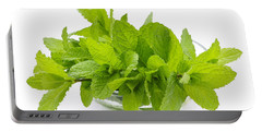 Mint Sprigs In Bowl Portable Battery Charger