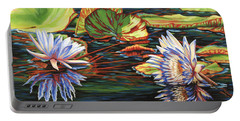Mirrored Lilies Portable Battery Charger by Jane Girardot