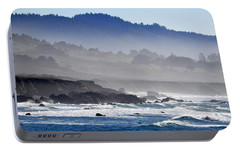 Portable Battery Charger featuring the photograph Misty Coast by AJ  Schibig