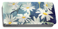 Portable Battery Charger featuring the painting Misty Daisies by Katherine Miller