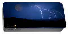 Misty Lake Full Moon Lightning Storm Fine Art Photo Portable Battery Charger