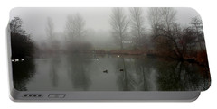 Misty Lake Reflections Portable Battery Charger