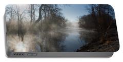Misty Morning Along James River Portable Battery Charger by Jennifer White