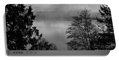 Misty Morning Sunrise Black And White Art Prints Portable Battery Charger