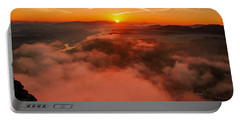 Misty Sunrise On The Lilienstein Portable Battery Charger
