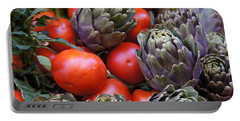 Articholes And Tomatoes Portable Battery Charger by Debi Demetrion