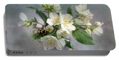 Sweet Mock Orange Blossom Bouquet With Bumble Bee  Portable Battery Charger by Louise Kumpf