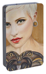 Portable Battery Charger featuring the painting Modern Warrior Beauty by Malinda  Prudhomme