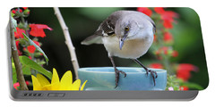 Mockingbird And Teacup Photo Portable Battery Charger by Luana K Perez