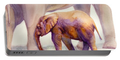 Portable Battery Charger featuring the painting Mom And Baby Boy Elephants by Bonnie Rinier