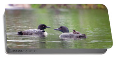 Mom And Dad Loon With Baby On Back Portable Battery Charger