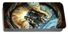 Portable Battery Charger featuring the painting Mom With Her Kittens by Donna Tucker