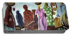 Portable Battery Charger featuring the painting Mombasa Market by Sher Nasser