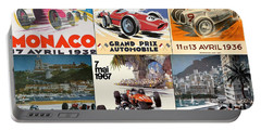 Monaco F1 Grand Prix Vintage Poster Collage Portable Battery Charger