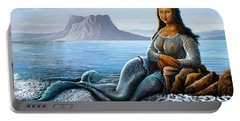 Portable Battery Charger featuring the digital art Monalisa Mermaid by Anthony Mwangi