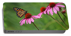 Monarch On Garden Coneflowers Portable Battery Charger