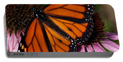 Portable Battery Charger featuring the photograph Monarch On Purple Coneflower by Barbara McMahon