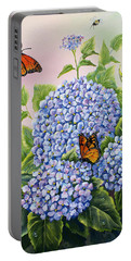 Monarchs And Hydrangeas Portable Battery Charger