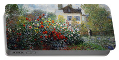 Portable Battery Charger featuring the photograph Monet's The Artist's Garden In Argenteuil  -- A Corner Of The Garden With Dahlias by Cora Wandel