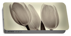 Monochrome Tulips With Vignette Portable Battery Charger