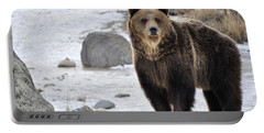 Montana Grizzly  Portable Battery Charger by Fran Riley