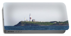 Montauk Lighthouse From The Atlantic Ocean Portable Battery Charger by John Telfer