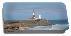 Portable Battery Charger featuring the photograph Montauk Lighthouse View From Camp Hero by Karen Silvestri