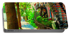 Montreal Art Colorful Winding Staircase Scenes Tree Lined Streets Of Verdun Art By Carole Spandau Portable Battery Charger by Carole Spandau