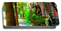 Montreal Art Colorful Winding Staircase Scenes Tree Lined Streets Of Verdun Art By Carole Spandau Portable Battery Charger
