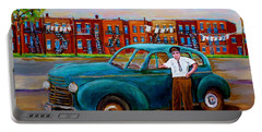 Montreal Taxi Driver 1940 Cab Vintage Car Montreal Memories Row Houses City Scenes Carole Spandau Portable Battery Charger