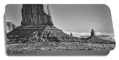 Portable Battery Charger featuring the photograph Monument Valley 3 Bw by Ron White