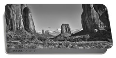 Portable Battery Charger featuring the photograph Monument Valley 8 Bw by Ron White