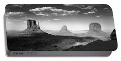 Monument Valley In Black And White Portable Battery Charger