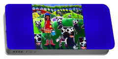 Portable Battery Charger featuring the painting Moo Cow Farm by Jackie Carpenter